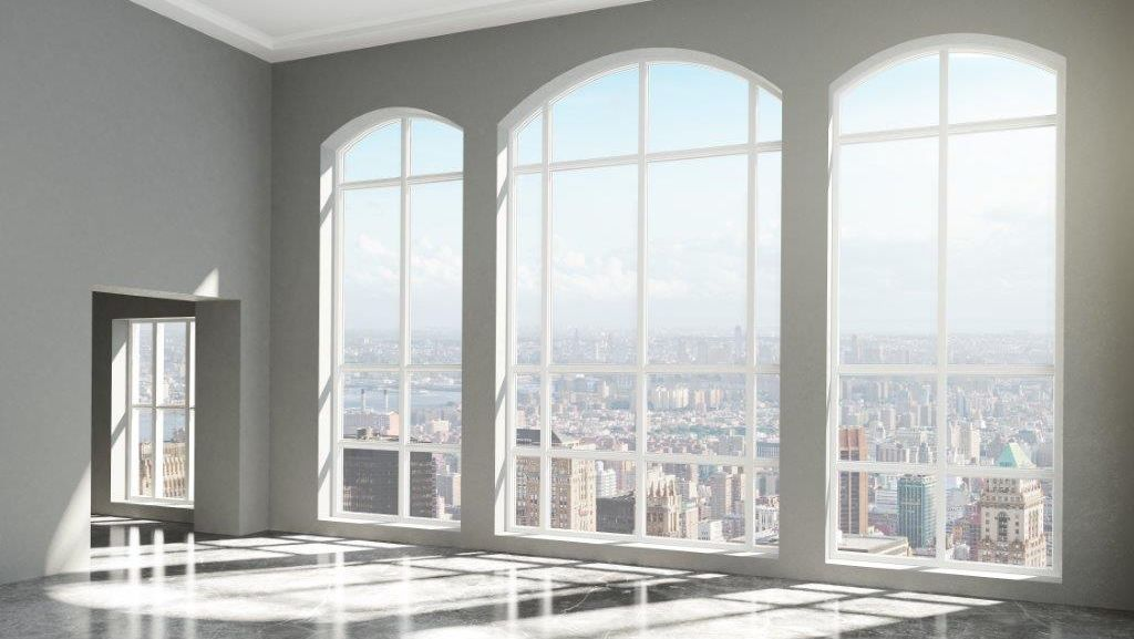 All-West-Glass-windows: three modern, large windows with a view of the city