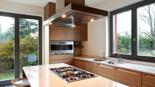 AllWestGlass bright spacious kitchen with glass doors